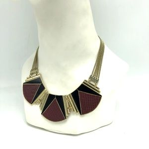 Express Statement Leather Enamel Choker Necklace